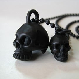 NUMBER (N)INE - Skullbell tear of heart   Ball chain necklace
