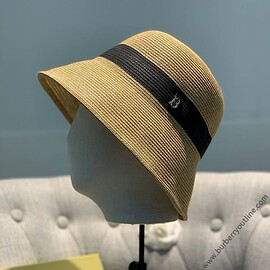 Burberry - Burberry Two-tone Straw Hat Black/Camel