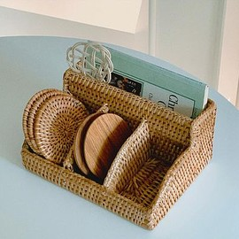 DECO VIEW - DECO VIEW 棚・ラック・収納 【SOSO COMMA】Rattan Tea Bag Cutlery Holder II