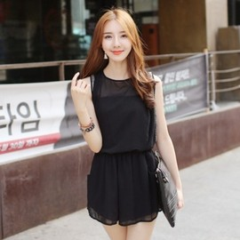 LUXE ASIAN - Luxe Asian Korean Women Fashion Black Day Beads Black Jumpsuit