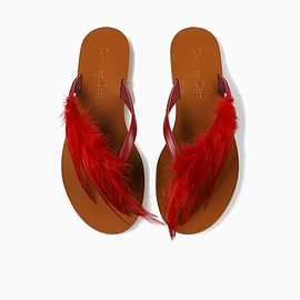 Christian Dior - Cruise 2018 TOE-POST SANDAL IN SCARLET SUEDE CALFSKIN AND FEATHERS