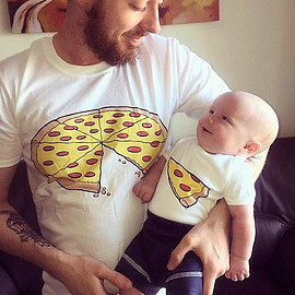 FavoursUK - Pizza One Slice Missing Pizza Fathers Daddy Dad Son Daughter Matching T shirts