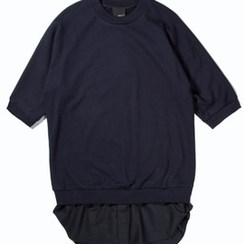 3.1 Phillip Lim - Navy S/S Pullover with Poplin Shirt Tail