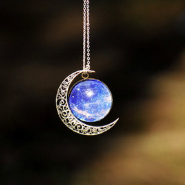 Etsy - Silver hollow star galactic cosmic moon necklace