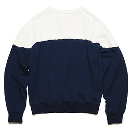 uniform experiment - CHEST PANELED WIDE CREWNECK SWEAT