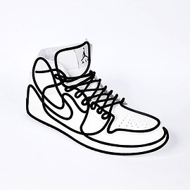 DFT - Minimalist line art, NIKE - Single Line Anamorphosis of a NIKE Air Jordan