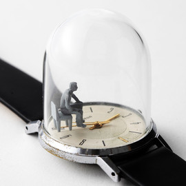 "Dominic Wilcox - Watch sculptures - ""A brief moment to sit."""