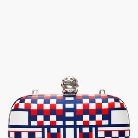Alexander McQueen - Red, White & Blue Check Print Skull Box Clutch