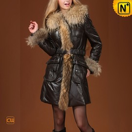 CWMALLS - Fur Trimmed Black Down Hooded Coat CW685048 - CWMALLS.COM