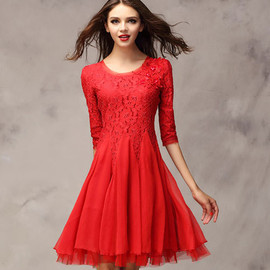 Three Quarter Sleeve Beaded Bodycon Pleated Lace Dress