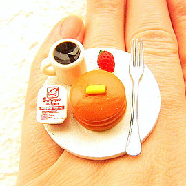 SouZouCreations - Miniature Food Ring Pancakes Coffee Cute Food Jewelry