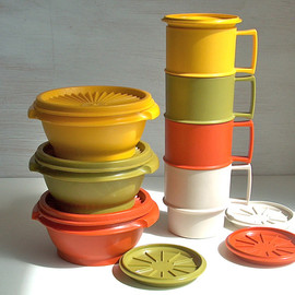 Tupperware  - Vintage Hervest color picnic set