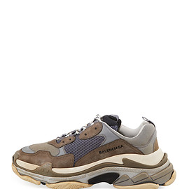BALENCIAGA - FW2017 Triple S Mesh & Leather Trainer Sneaker, Gray