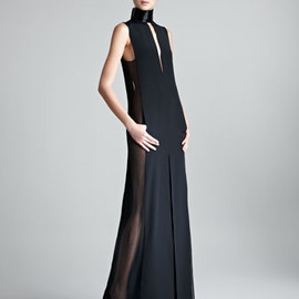 EMILIO PUCCI - Sheer-Side Halter Gown