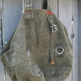 bodhitree on Etsy.com - Upcycled Vintage German Military Duffle Bag Tote XXL Cotton Canvas Leather Accent