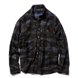 SOPHNET. - SOPH. | CAMOUFLAGE FLANNEL CHECK B.D SHIRT(M BLUE):