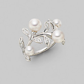 Mikimoto - White Round Cultured Pearl, Diamond & 18K White Gold Ring
