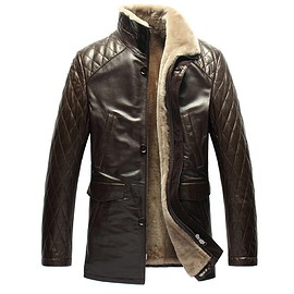 cwmalls - Mens Quilted Leather Shearling Coat