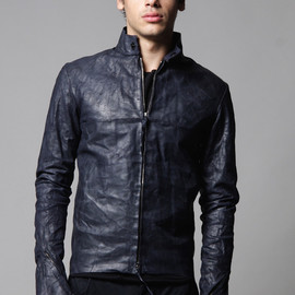 m.a+ - Midnight Blue Biker Leather Jacket