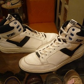 """PONY - 「<used>80's PONY UNKNOWN BASKETBALL SHOES white/black""""made in TAIWAN"""" size:US9/h(27.5cm) 8800yen」販売中"""