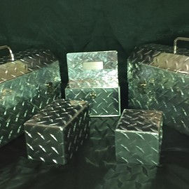 joseph doiron - Aluminum checker plate; lunch, lock and donation boxes.