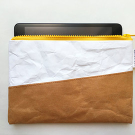 BelltaStudio - Kraft and Tyvek paper iPad mini case strong plastic yellow zipper with material protect inside