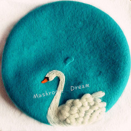 Felted Beret, wool felt hat,felted art, blue felt french beret,-White Swan