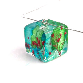 SpottedDogAsheville - Vibrant Botanical Resin Necklace.