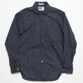 Engineered Garments - Round Collar Shirt, Navy Mini Polka Dot