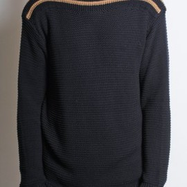 DRIES VAN NOTEN - 'Jim' Slash Neck Contrast Knit in Navy