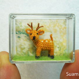 suami - Cute Fawn Buck - Teeny Tiny Crocheted Fawn Deer
