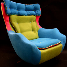 Kate Pritchard - Fred - A reupholstered 1960's swivel egg chair.