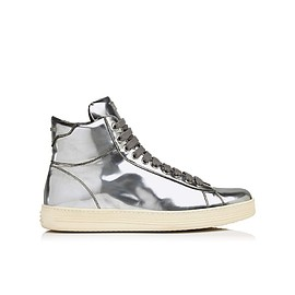 TOM FORD - METALLIC LEATHER HIGH TOP SNEAKER