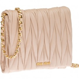 miu miu - Miu Miu Matelassé lamb nappa leather bandoleer bag in PALE PINK 1
