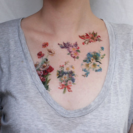 pepperink - vintage flowers floral tattoo