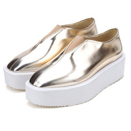 Metallic Leather Creepers Fashion Punk Flat Platform Thick Sole