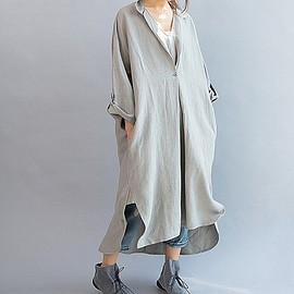 Loose Fitting Maxi dress - Linen dress in Gray, Loose Women's Dresses, Maxi linen dress, black Dresses