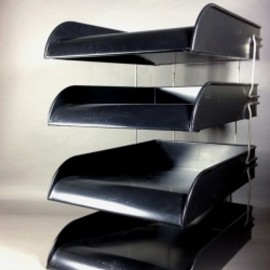 "アメリカ【Globe Wernicke】社製 - 1950's ""BLACK × SILVER"" 4-tier Metal Paper Tray"