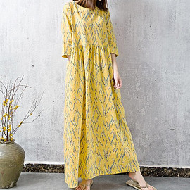 long loose dress - Soft comfortable Cotton and linen Loose dress Yellow long loose dress
