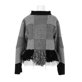 sacai - Houndstooth sweater in wool and nylon