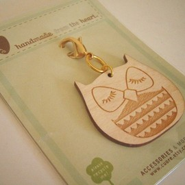 Cuore - Stewart the Owl Wooden Engraved Keychain Zipper Pull