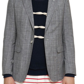 Band of Outsiders - Linen and Wool Blend Checked Jacket in Gray for Men (grey)