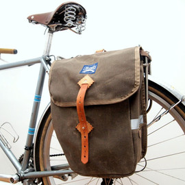LaplanderBags  - Deluxe Waxed City Panniers - Brown Waxed Canvas / Leather