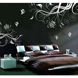 wallstickerdeal.com - Lovely Flower With Butterfly Wall Stickers