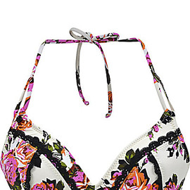 BETSEY JOHNSON - BEAUTY MARK STRING BIKINI TOP CREAM MULTI