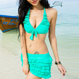 Candy Color Flounce Bikini Set Swimwear Swim Suit