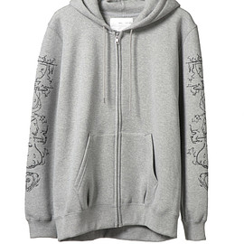 NADA. - Embroidery arm zip parka / H.gray