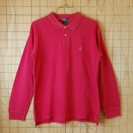 Polo by Ralph Lauren - 【Polo】古着コロンビア製ピンク(桃)メンズ長袖ポロシャツ【ポロ・ラルフローレン】