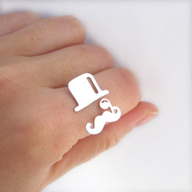 smilingsilversmith - Mr. Mustache with top hat with monocle V2 - jewelry gift ideas