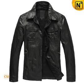 CWMALLS - Black Button-up Leather Jacket nz for Men CW850122